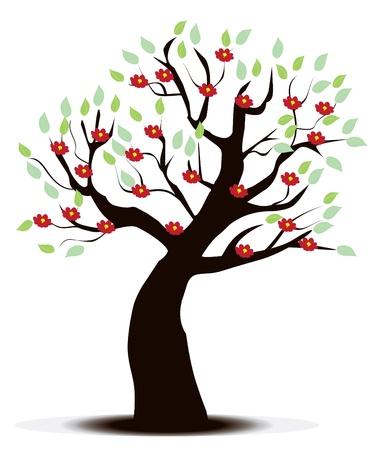 꽃 나무 일러스트