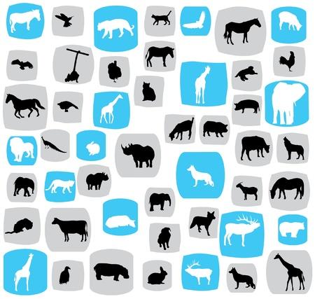 animals silhouettes Vettoriali
