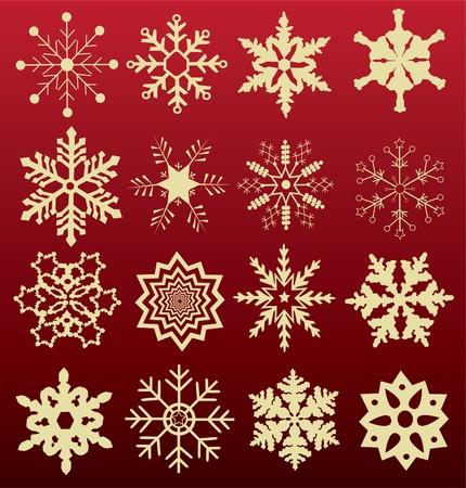 set of snowflakes 向量圖像