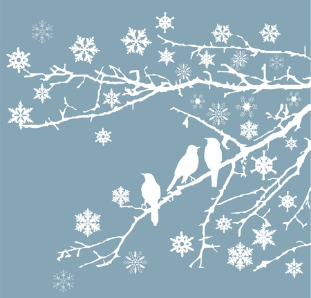 snow branches with birds