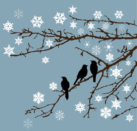 snow branches with birds Vector