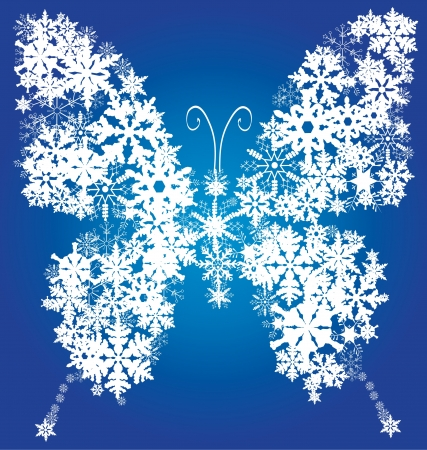 crystal background: snow butterfly