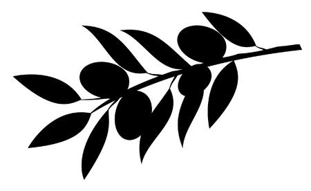 foglie ulivo: ramo silhouette di oliva Vettoriali