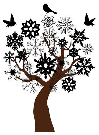 christmas tree illustration: snow tree with birds