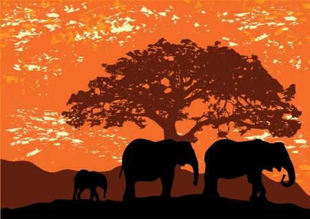 象のシルエット  イラスト・ベクター素材
