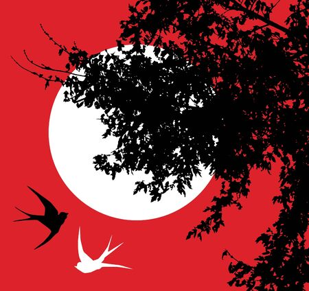 tree silhouettes: swallows in the moonlight Illustration