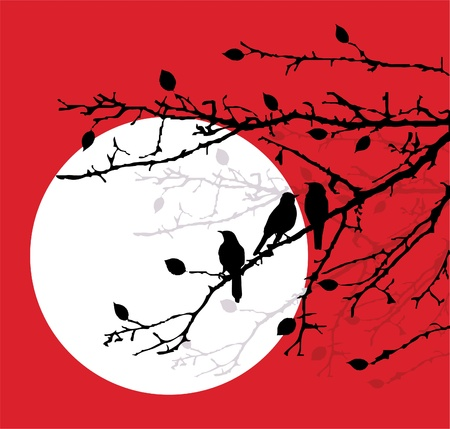 birds on the branches Vector