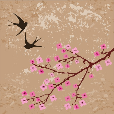 swallows and blossom branch Vector