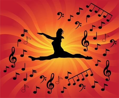 dancing club: dancer silhouette with notes