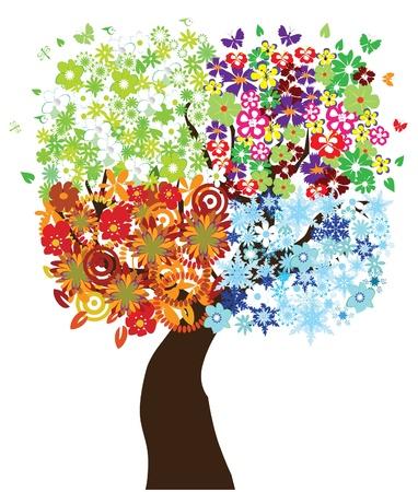 happy couple: vector season tree