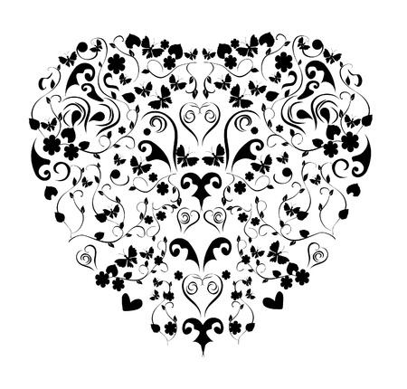 vector vintage floral heart Vectores