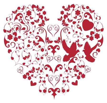 vector red vintage heart Stock Vector - 12421191