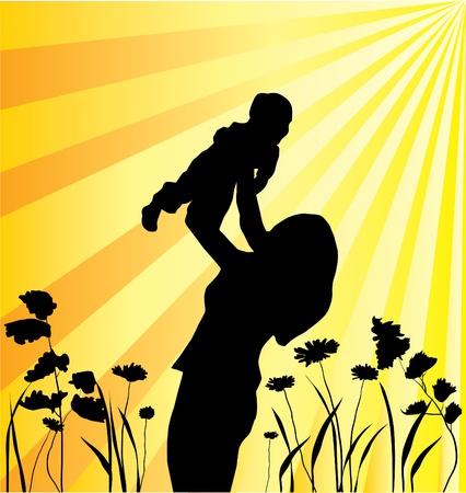 vector moeder en kind