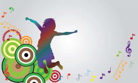dancing club: vector jumping girl