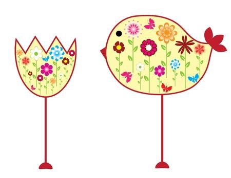 red wallpaper: vector birds and flower