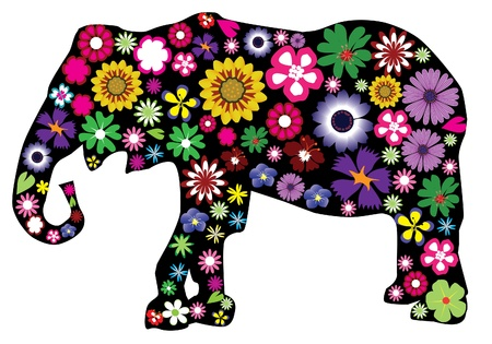 vector bloemen olifant Stock Illustratie