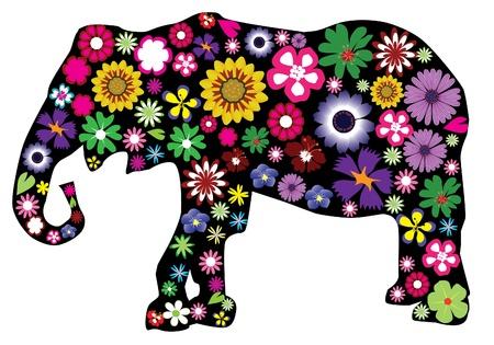 silhouettes elephants: vector floral del elefante Vectores