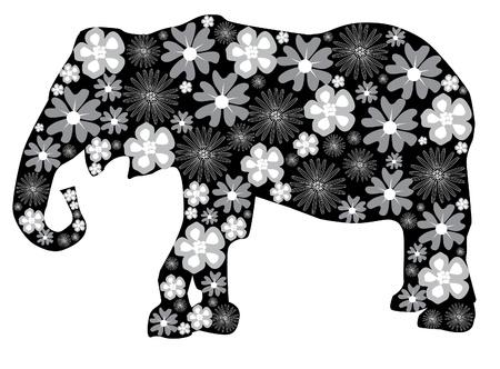 animal silhouette: vector floral elephant