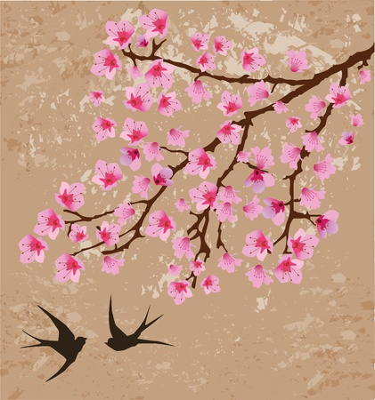 tree sketch: vector floral branch and swallows