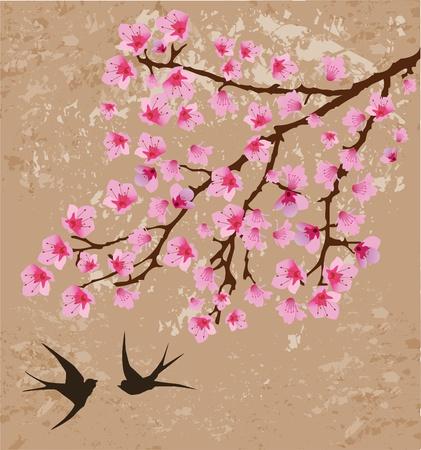 golondrinas: vector floral rama y golondrinas