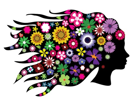 human face: vector head silhouette with flowers