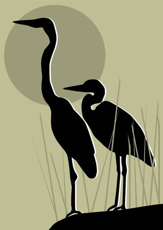 bog: vector heron silhouettes Illustration