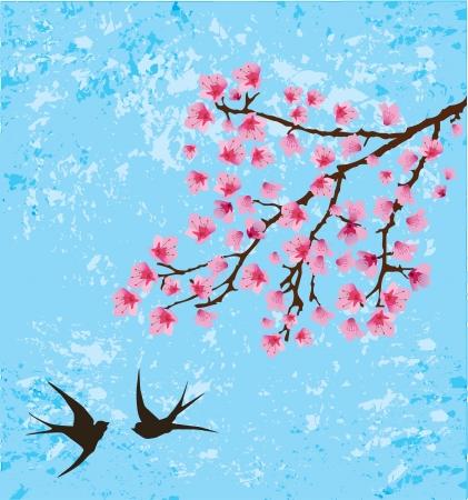 ベクターの花の枝とツバメ