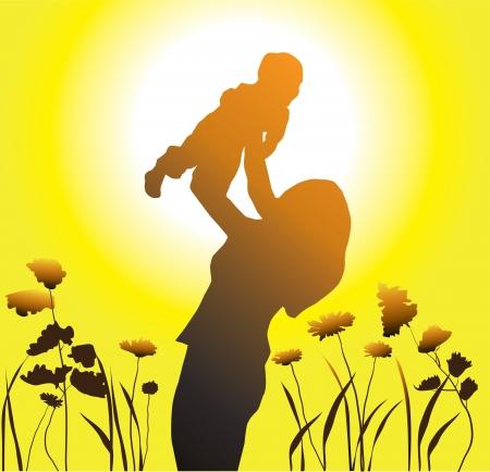 mama e hijo: familia feliz Vectores