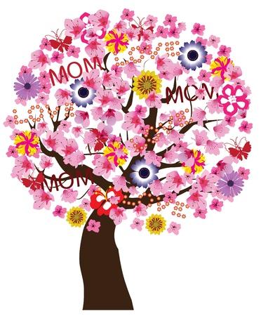 母の日木  イラスト・ベクター素材