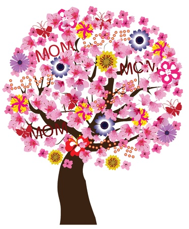 mother s day tree Vector