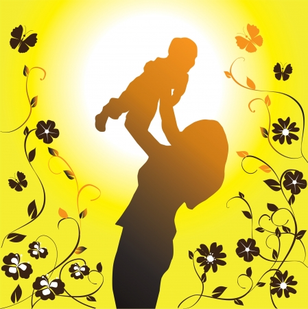 mom and dad: Happy family silhouette illustration