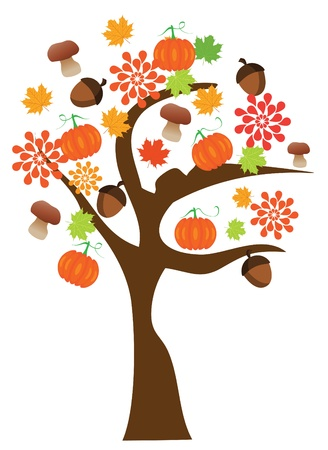 pumpkin patch: vector fall tree