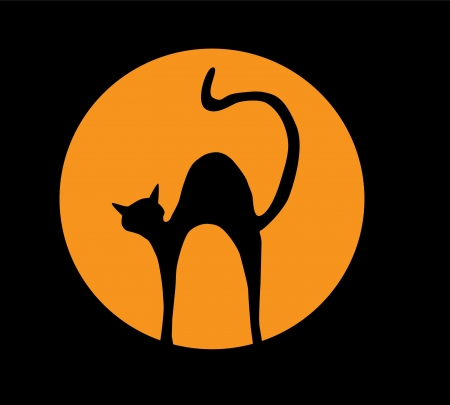 vector cat silhouette in the orange moon