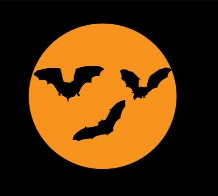 vector bats silhouette in the orange moon Vettoriali