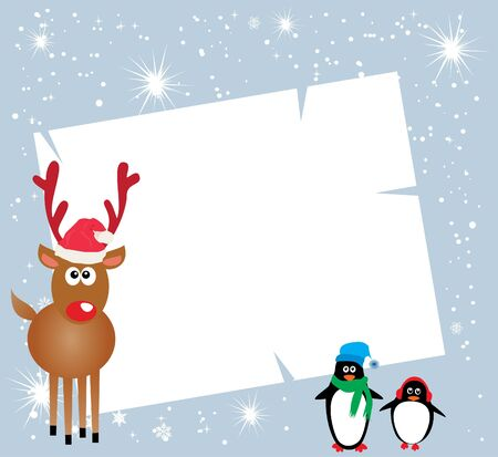 vector holiday card with penguins, reindeer  Vector