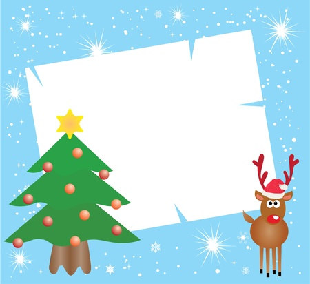 vector holiday card with reindeer and christmas tree