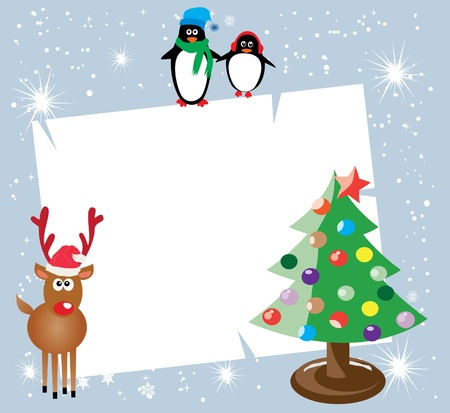 season: vector holiday card with penguins, reindeer and christmas tree Illustration