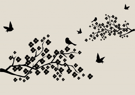 tree outline: vector floral branches with birds