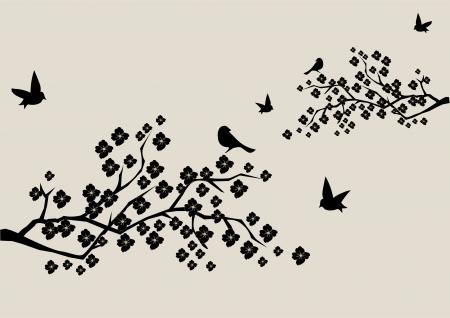 vector floral takken met vogels