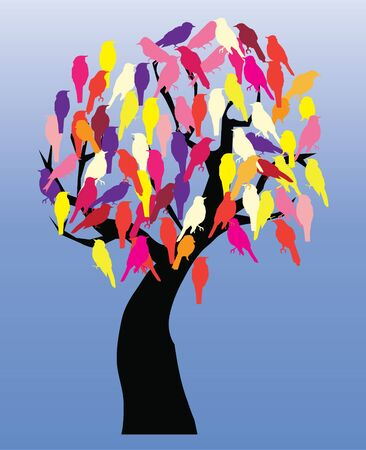 vector tree with birds Stock Vector - 15851629