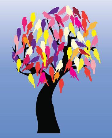 vector tree with birds Vettoriali