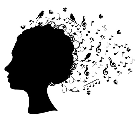 computer dancing: vector head silhouette with musical notes