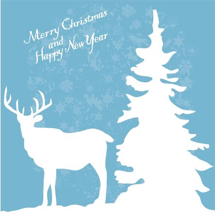 vector card with reindeer and tree Vector