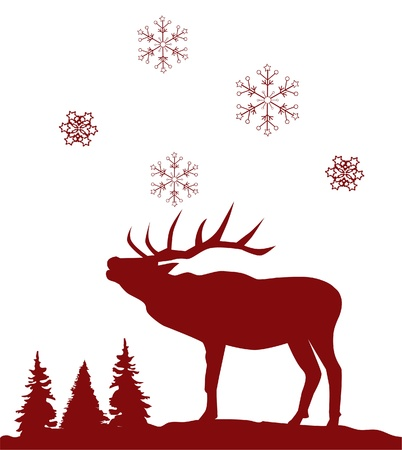 antlers silhouette:  red reindeer Illustration