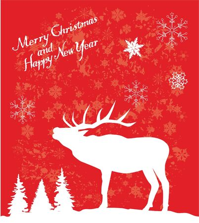 vector card with reindeer