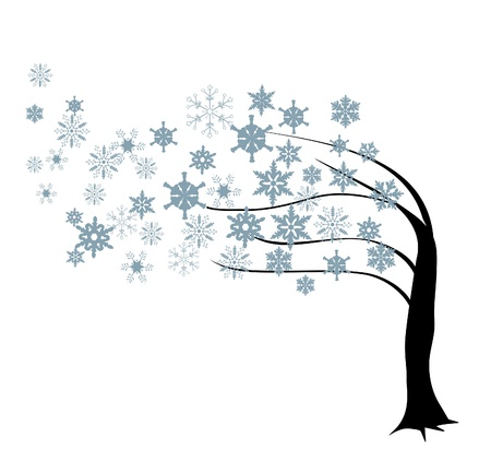 winter tree: vector snow tree in the wind