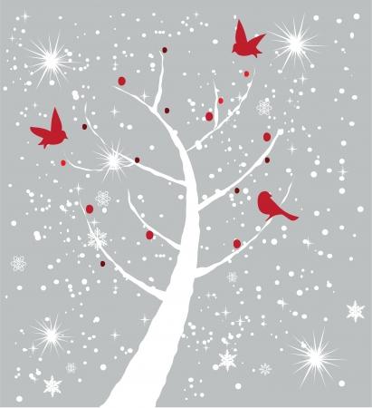 in winter: carta di vettore con l'albero e gli uccelli