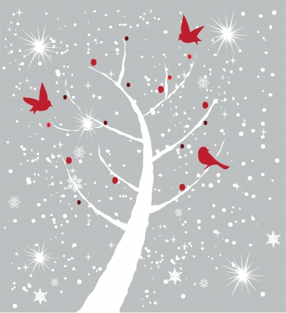 december holidays: vector card with tree and birds