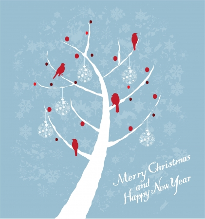 bare: vector Christmas card with tree and birds