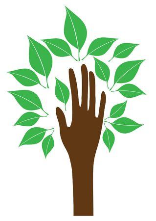 vecto de hand boom met bladeren Stock Illustratie